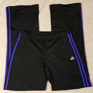 Adidas Climalite Black & Purple Workout Pants Sz L